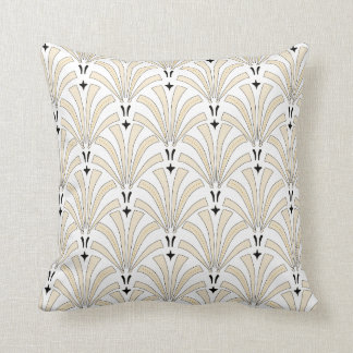 1920s Vintage Art Deco Cream & Black Fans Cushion