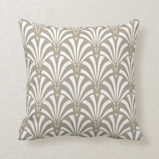 1920s Vintage Art Deco White Fans & Taupe Cushion