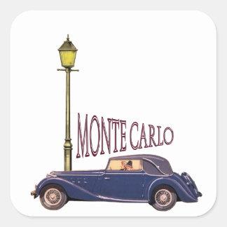 1920's Vintage Automobile - Monte Carlo Square Sticker