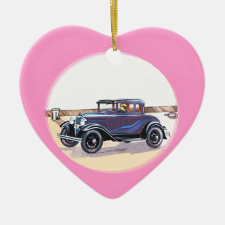 1920s Vintage Automobile Romantic Pink Heart Christmas Ornament