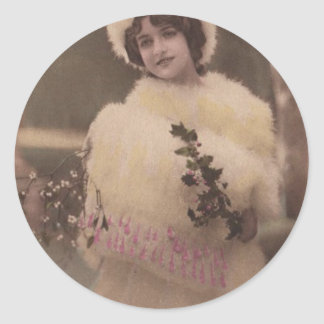 1920s Vintage Model in the Snow Round Stickers