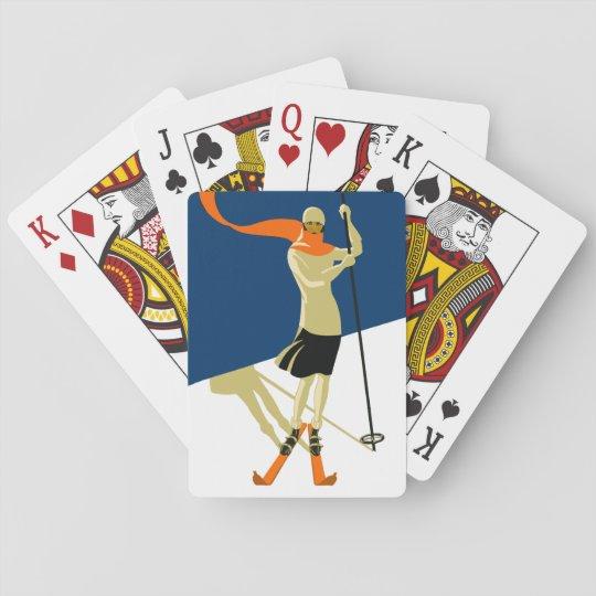 1920's Vintage Skier Design Playing Cards