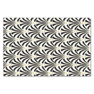 1920s Vintage Style Art Deco Black & White Fans Tissue Paper