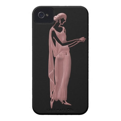 1920s Woman in Pink and Black iPhone 4 Cases