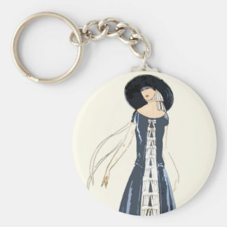 1920s Women s Fashion Dress and Hat Keychains