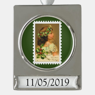 1921 Cancelled Stamp Holly Girl Ornament Silver Plated Banner Ornament