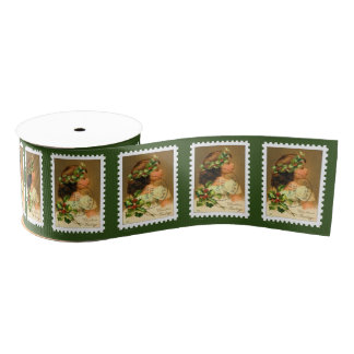 1921 Cancelled USA Christmas Postage Stamp Grosgrain Ribbon