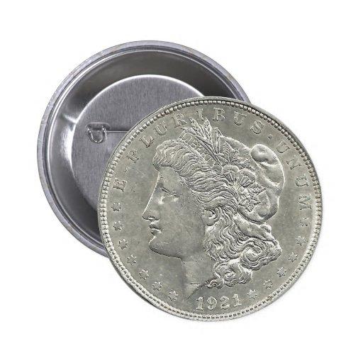 1921 Morgan Silver Dollar Button