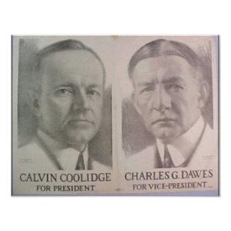1922 Coolidge - Dawes 11 Cm X 14 Cm Invitation Card