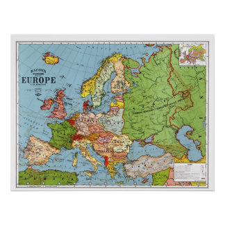 1923 Map of Europe Poster