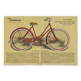 1923 Vintage Ladies Pathfinder Bicycle Ad Poster