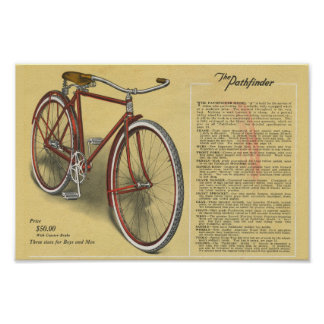 1923 Vintage Mens Pathfinder Bicycle Ad Art Poster
