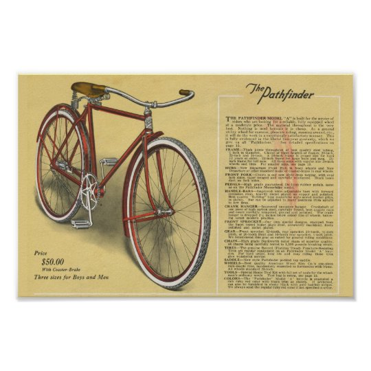 1923 Vintage Mens Pathfinder Bicycle Ad Art Poster