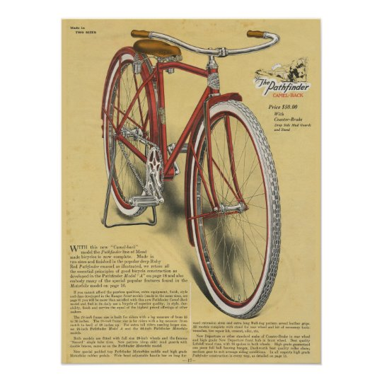 1923 Vintage Pathfinder Bicycle Ad Art Poster