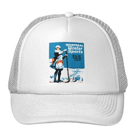 1924 Montreal Winter Sports Poster Trucker Hats