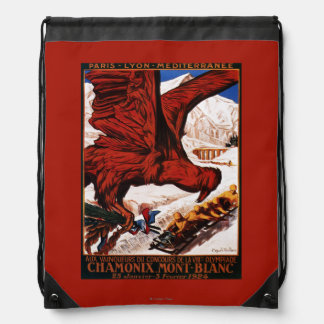 1924 Olympic Winter Games Poster Drawstring Backpacks