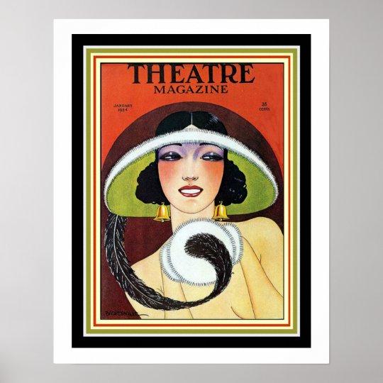 1924 Theatre Magazine Art Deco Cover 16 x
