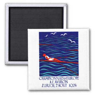 1924 Zurich Rowing Poster Square Magnet