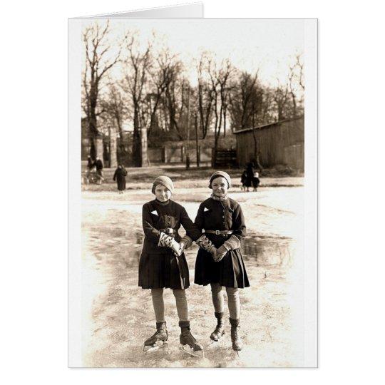 1925 Girlfriends Ice Skating Card