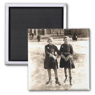 1925 Girlfriends Ice Skating Magnet
