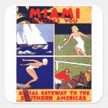 1925 Miami Travel Poster Square Sticker