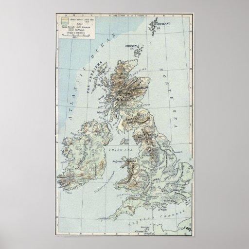 1926 British Isles Map United Kingdom Poster