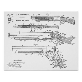 1926 Browning Shotgun Patent Art Drawing Print