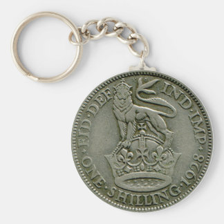 1928 British shilling keyring Basic Round Button Key Ring
