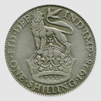 1928 British shilling sticker