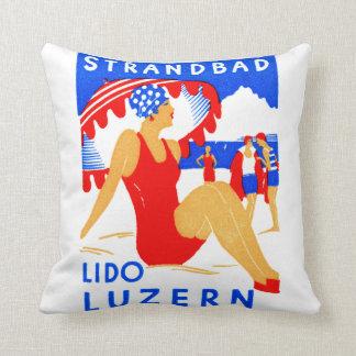1929 Art Deco Strandbad Lido Luzern Pillow