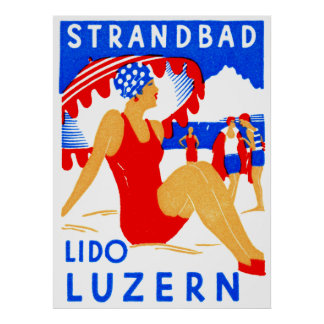 1929 Art Deco Strandbad Lido Luzern Poster