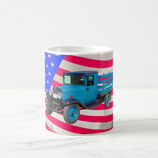 1929 Chevy 1 Ton Truck and American Flag Coffee Mugs