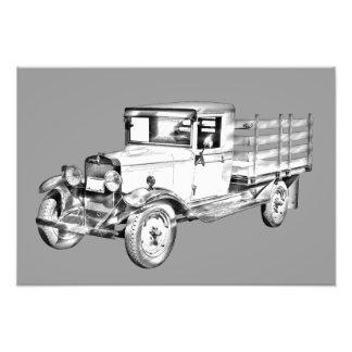 1929 chevy truck 1 ton stake Body Illustration Photo Art