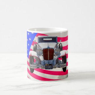 1929 Cord 6-29 Cabriolet and American Flag Coffee Mug