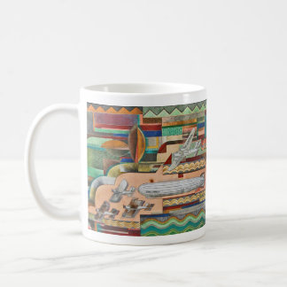 1929 Deco Transportation Mural Basic White Mug