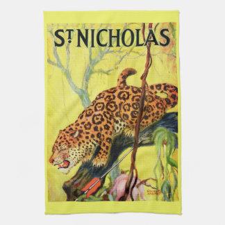 1929 St. Nicholas magazine cover leopard print Tea Towel