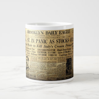 1929 Stock Market Newspaper Coffee Jumbo Mug