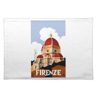 1930 Florence Italy Duomo Travel Poster Placemat