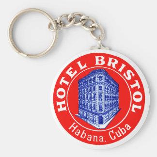 1930 Hotel Bristol Cuba Basic Round Button Key Ring