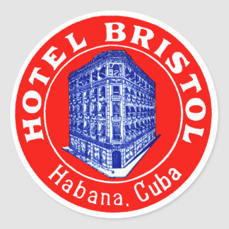 1930 Hotel Bristol Cuba Classic Round Sticker