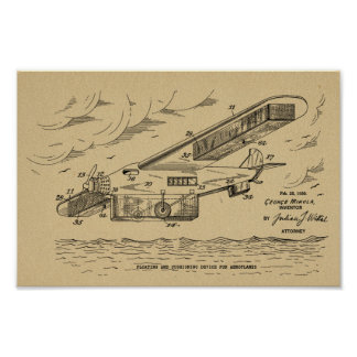 1930 Safety Airplane Patent Art Drawing Print