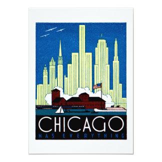 1930 Visit Chicago Poster 13 Cm X 18 Cm Invitation Card