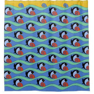1930s Art Deco Fish - L.A> Union Station Tiles Shower Curtain