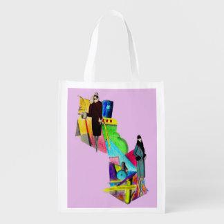 1930s art deco women print reusable grocery bag