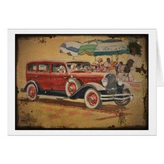 1930s Club Sedan at a Beach Party Greeting Cards