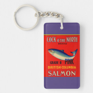 1930s Cock o' the North salmon can label Key Ring