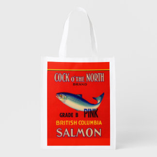 1930s Cock o' the North salmon can label Reusable Grocery Bag