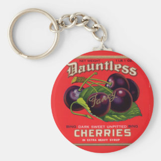 1930s Dauntless Cherries in Heavy Syrup can label Basic Round Button Key Ring