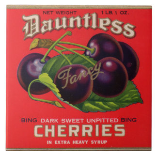 1930s Dauntless Cherries in Heavy Syrup can label Large Square Tile
