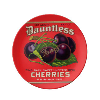 1930s Dauntless Cherries in Heavy Syrup can label Porcelain Plates